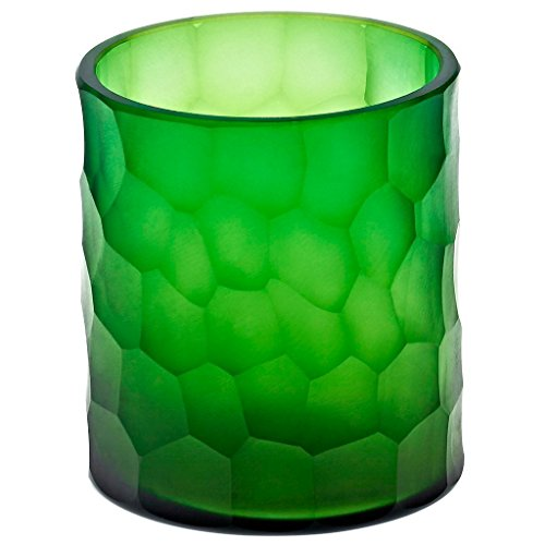 CRISTALICA Teelichtglas Kerzenhalter Votiv Windlicht Moonlight Höhe 9,5cm grün Handmade