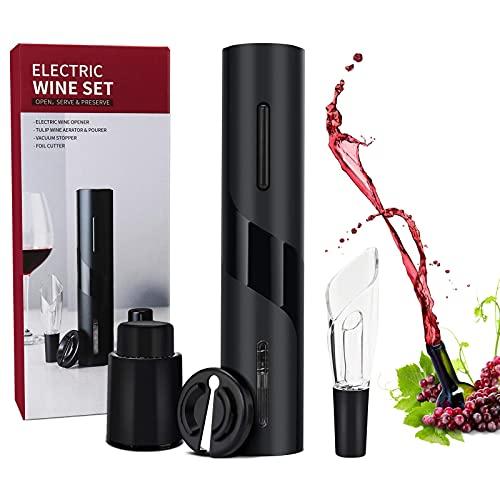Sacacorchos eléctrico YeVhear, sacacorchos automático abridor de botellas de vino con extractor de abridor/cortador de papel de aluminio/vertedor de vino y tapón de vino al vacío, ideal para aman