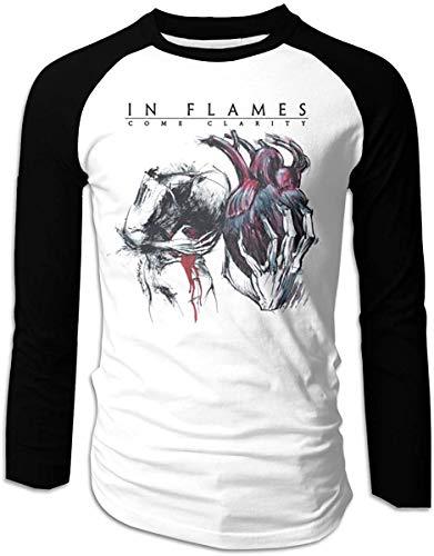 in Flames Come Clarity Blank Design Men's Game Raglan Long Sleeve Baseball T-Shirts Black,Medium