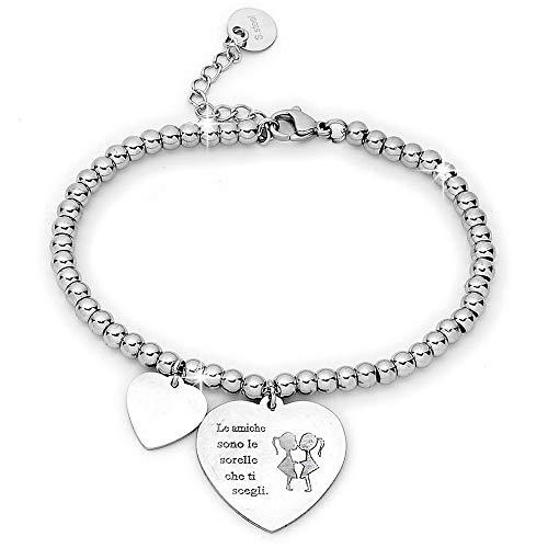 Beloved Bracciale da donna, braccialetto in acciaio emozionale - frasi, pensieri, parole con charms - ciondolo pendente - misura regolabile - incisione - argento - tema famiglia (MF8)