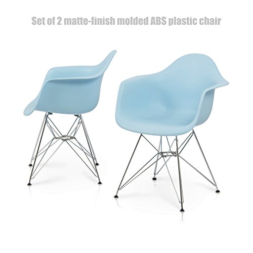 Modern Molded ABS Plastic Dining Chair Chromed Steel Dowel Legs Posture Support Backrest Design Innovative Side Chair - Set of 2 Blue #1427