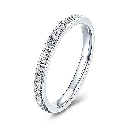 M MOOHAM 2mm Titanium Ring Cubic Zirconia Wedding Eternity Bands for Women Size 5 to 13.5
