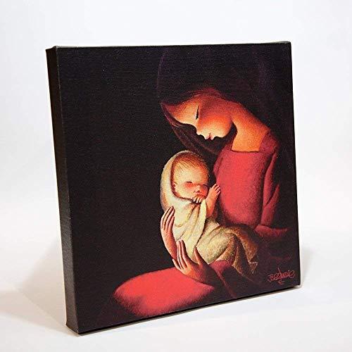 Virgen fondo negro 30x30cm. Ilustración de Juan Ferrándiz impresa en lienzo. Serie limitada y numerada. Regalo Comunión y Bautizo