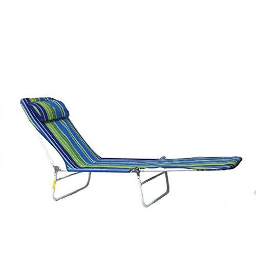 Lounge Folding Metal Chaise w/Head Rest (Blue) Pkg/1