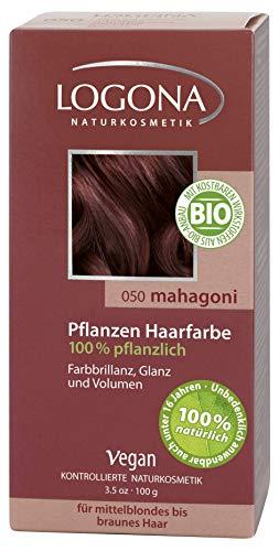 LOGONA Naturkosmetik Coloration Pflanzenhaarfarbe, Pulver - 050 Mahagoni - Braun, Natürliche & pflegende Haarfärbung (100g)