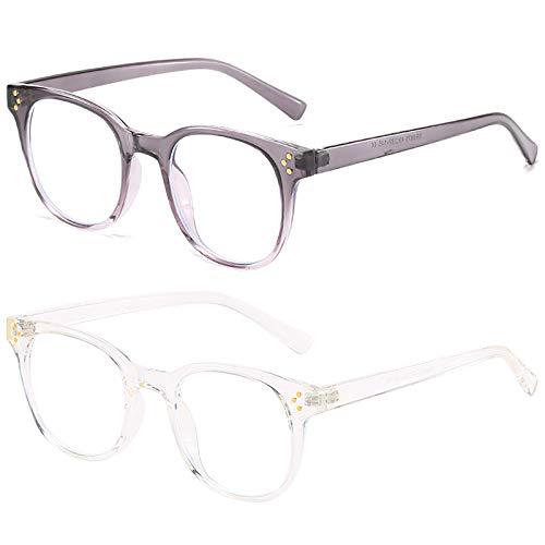 Pack de 2 gafas con bloqueo de luz azul Gafas para juegos de computadora TR Rice decoración de uñas Marco de anteojos Gafas para juegos de lectura anti-fatiga visual para mujeres y hombres,E