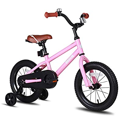 JOYSTAR 14 Inch Kids Bike for Girls 3 4 5 Years Old, 14 Inch Children Bicycle with Training Wheels, Child Bicycle with Foot Brake, Kids Cycle- Pink