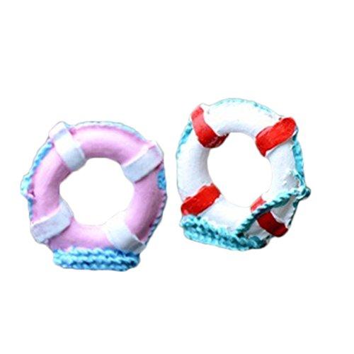 LAMEIDA 2Miniatur Mediterraner Stil Verzierung Micro Swim Ring Miniatur Ornament Mini Kunstharz Crafts DIY Beach Ornament zufällige Farben