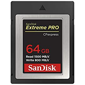SanDisk 64GB Extreme PRO CFexpress Card Type B - SDCFE-064G-GN4NN 1 Read speeds of up to 1700MB/s and 1400MB/s write speeds** offer low latency during high-speed recording and enhance workflow efficiency far beyond existing SanDisk cards | **Up to 1700MB/s read speed; up to 1400MB/s write speed. Based on internal testing; performance may be lower depending upon host device, usage conditions, and other factors. 1MB=1, 000, 000 bytes. Enables smooth, RAW 4K video(1) | (1)4K video (4069x2160p) support may vary based on host device, file attributes, usage conditions and other factors. The Cfexpress CardType B is backwards-compatible with select XQD cameras that adopt firmware enabling Cfexpress(2) | (2)Backwards compatibility with select XQD cameras subject to the availability and installation of a camera firmware update provided by the camera manufacturer enabling CFexpress compatibility.