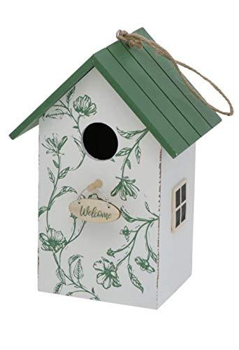 CasaJame Pajarera de madera para balcón y jardín, nido, casa para pájaros, casa para pájaros, pajarera, blanco con techo verde y flores, pintado 15 x 12 x 22 cm