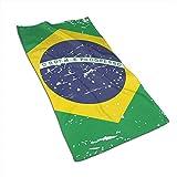 Opiadco Toallas de Mano de Fibra extrafina con Bandera de Brasil Vintage Toalla de Playa Ultra Suave Toalla de baño para Piscina para niños, ni