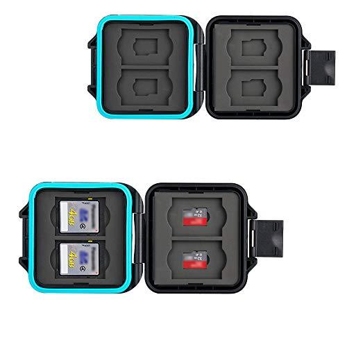 JJC Speicherkarten Tasche Wasserdicht Schutzhülle für 4 SDXC SDHC SD-Karten und 4 Micro SD-Karten TF Karten mit Antilost Schnur