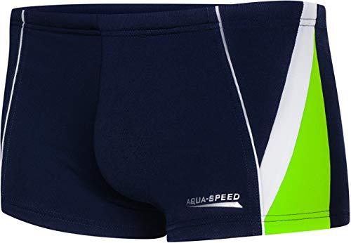 Aqua Speed UV Badehosen Junge + gratis eBook   Schwimmhosen eng   sportliche Schwimmbekleidung Jungs   Gr. 158   04. Marineblau Grün Weiß   Diego