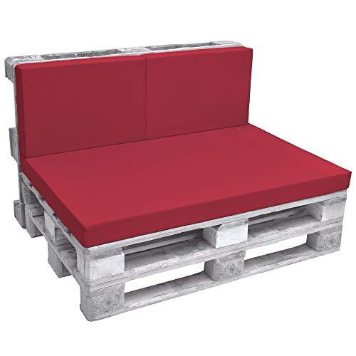 Beautissu Eco Pure Set de 2 Cojines Respaldo para palés Acolchados Tapicerias In/Outdoor Europalés 120x40x8cm Rojo
