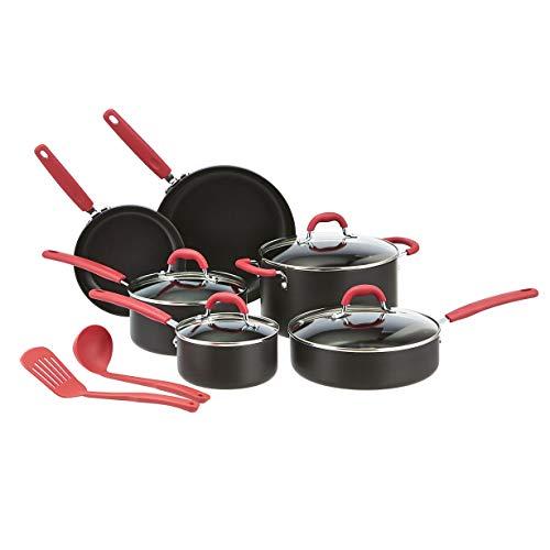 Amazon Basics - Juego de 12 utensilios de cocina antiadherentes (ollas, sartenes y otros utensilios), con recubrimiento anodizado duro, rojo