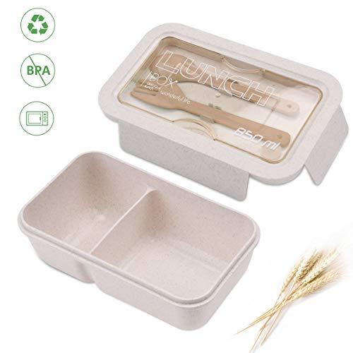 ROVLAK Fiambrera Niños Ecologica Caja de Almuerzo Portatil con 2 Comp