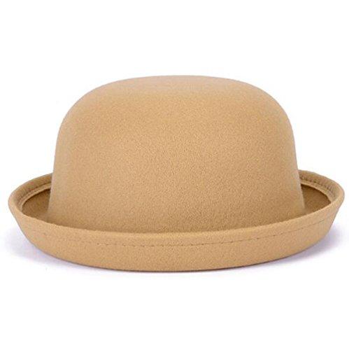 Nanxson Nanxson Damen Elegant Melonen Hut Künstliche Wolle Filzhut Rolle Brim Hut MZW0088 (Beige-Kinder
