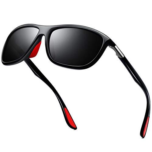 KANASTAL Sonnenbrille Herren Damen Sport Polarisierte Klassische Retro Rechteckige mit UV400-Schutz zum Angeln Radfahren Ski Golf Fahrt(Glänzend schwarz)