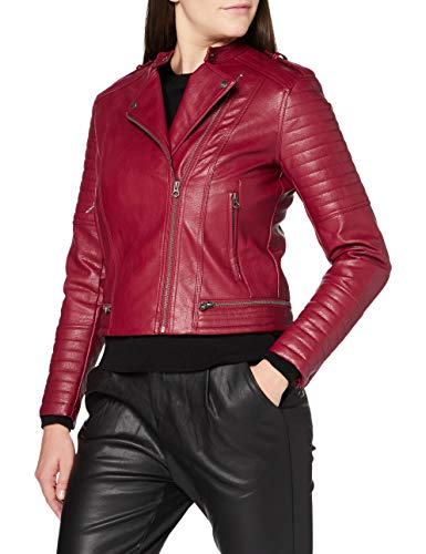 Pepe Jeans LENNA Chaqueta de Cuero, Rojo (287), Large para Mujer