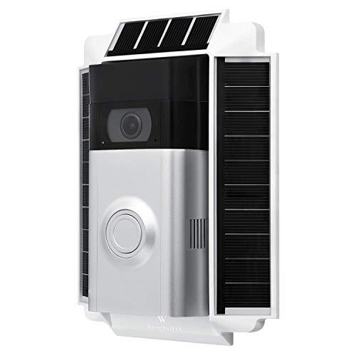 Soporte con 0.5 Watt Cargador Solar Compatible con cámara de Seguridad Ring Video Doorbell 2 – Impermeable (Blanco)