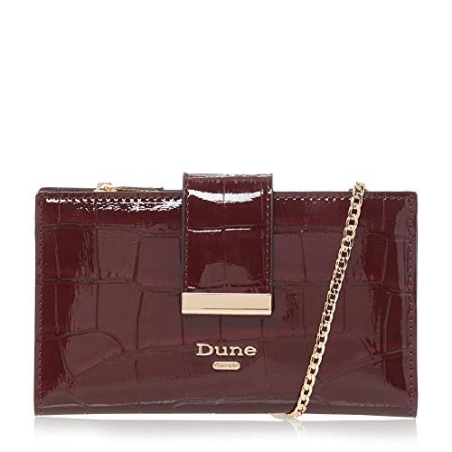 Dune KIPLOWE Purse On Chain With Removable Card Holder One Size Berry Croc Synthetic Flap Over Purse