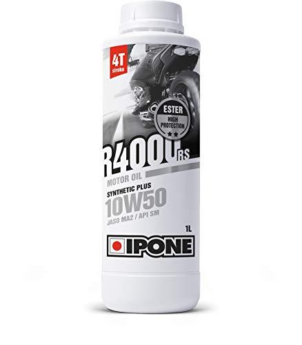 IPONE - Huile Moto 4 Temps 10W50 R4000 RS - Bidon 1 Litre - Lubrifiant Semi-Synthétique avec Esters - Haute Qualité - Résistance Exceptionnelle à l'Usure et Protection du moteur - Bidon 1 Litre