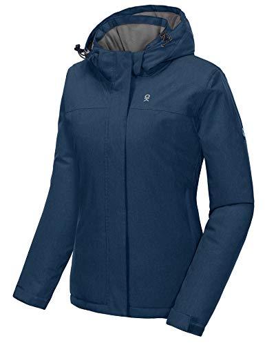Little Donkey Andy - Chamarra de esquí, impermeable con capucha desmontable, para mujer, Moderno/ajustado, Azul Brezo, X-large