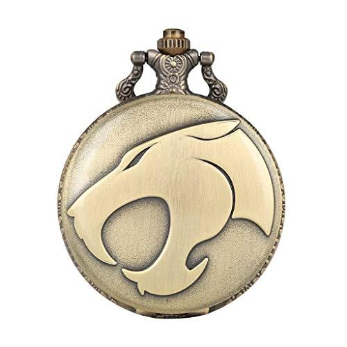 YUTRD ZCJUX Animal Leopard Head Figura Reloj de Bolsillo de Cuarzo Collar Retro Reloj de Cadena Colgante de Bronce Relojes