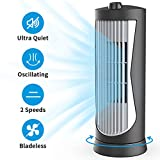 SLENPET Small Tower Fan, Oscillating Quiet Cooling Fan, 13 Inch 2 Speeds, 2 Modes Settings, Portable Rotating Stand Table Fan for Bedroom, Desk, Home and Office