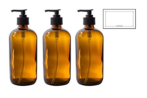 16 oz Amber Glass Boston Round Bottle with Black Lotion Pump (3 Pack)
