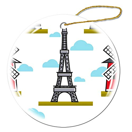Wendana Eiffeltoren En Moulin Rouge Naadloos Patroon Ronde Keramische Kerst Ornamenten Keepsake Ornamenten Kerstboom Decoraties Kerstmis Geschenken voor Kinderen Vrouwen Tiener Meisjes