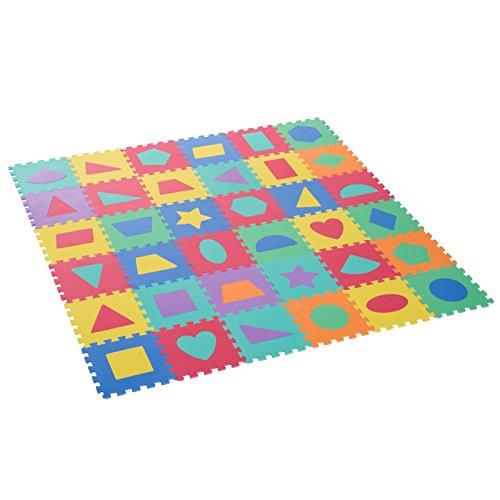 homcom Tappeto Puzzle 36 Pezzi Tappeto da Gioco per Bambini Multicolore con Figure Geometriche Eva 31 × 31cm