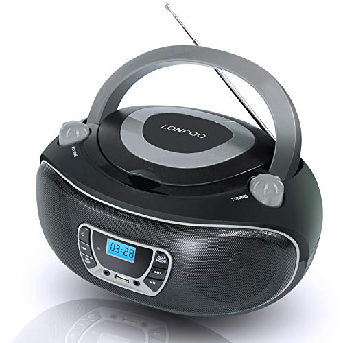 LONPOO Boombox CD Player Portable Radio with Big Knob, Support Bluetooth, FM Radio, USB Input/AUX-in/Earphone 2x2W Stereo Output (Black + Gray)