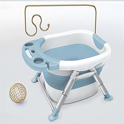 PQXOER Bañera plegable portátil para bebés y niños, bañera plegable para un fácil almacenamiento y transporte, adecuado para almacenamiento en un espacio pequeño (tamaño: 79 x 56 x 15 cm; color: azul)
