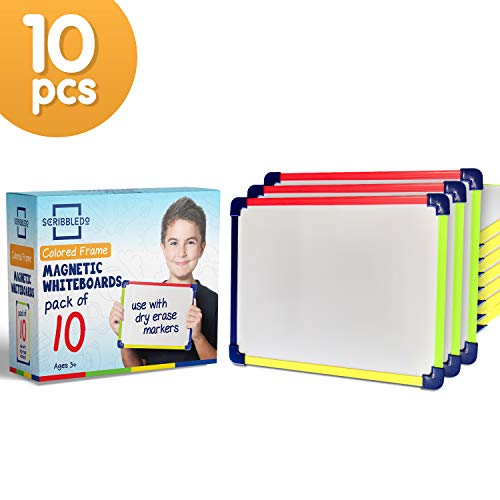 Scribbledo Colored Frame Magnetic Dry Erase White Boards Pack of 10 l 9' X 12' Whiteboard