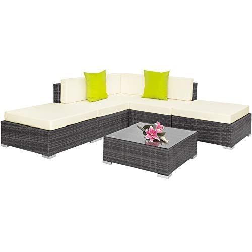 TecTake 403295 Conjunto de Muebles de Ratán, Set Modular Asientos y Mesa, Ideal Jardín Patio Salón, Incl. Cojines, Gris