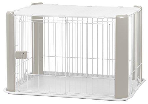 IRIS, Welpenauslauf / Freigehege / Laufstall / Welpengitter CLS-960, Kunststoff, Klein mit Dach, Weiß / Grau, 92 x 63 x 60 cm