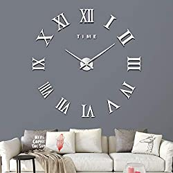 Fanyuanfds Large 3D DIY Wall Clock, Giant Roman Numerals Clock Frameless Mirror Sticker Wall Clock Home Decoration for Living Room Bedroom(Silver)