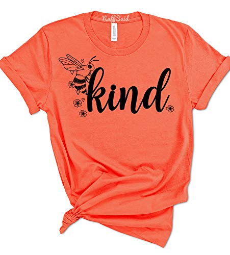 NuffSaid Bee Kind Cute Woman's Summer T-Shirt - Save The Bee's Graphic Tee (Medium, Coral)