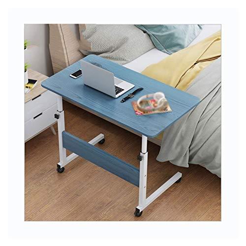 ZXCVBNM Mesa de sobrecama móvil para ordenador portátil, portátil, escritorio, mesa de sofá, altura lateral, ajustable, con ruedas sobre la cama (color: A azul 80 x 40)