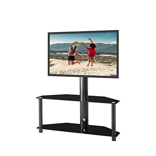 LIXUDECO Gabinete de TV TV Soporte Monitor Holder TV Rack Ajustable Vidrio Templado Metal Frame Floor TV Stop 2 Niveles de Vidrio Templado Mueble