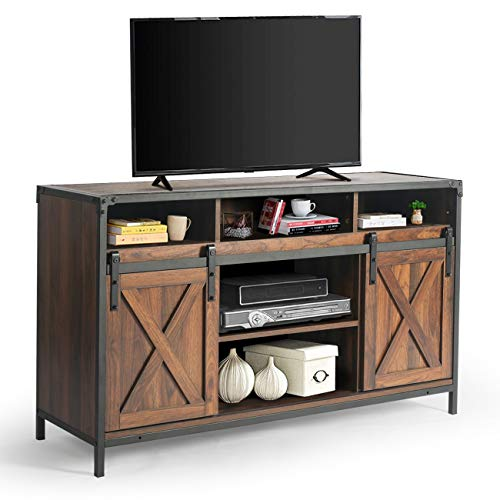 AILEEKISS Modern Farmhouse TV Stand for TVs Up to 50' Sliding Barn Door Storage Table TV Stands Cabinet with Adjustable Shelves Entertainment Center for Living Room Bedroom (Rustic Brown)