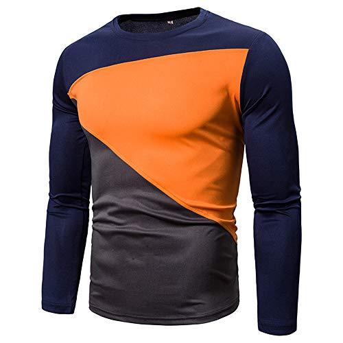 Herren Pullover T-Shirt Rundhals Patchwork Langarm Slim-Fit Sweatshirt Frühling und Herbst Neu Sport Fitness Casual Daily Wear Streetwear Winter Bottoming Shirt 3XL