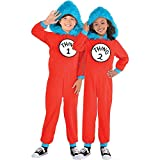 Costumes USA Dr. Seuss Thing 1 & Thing 2 One Piece Halloween Costume for Kids, Medium, with Attached Hood