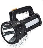 Lampe à main Lampe à main USB rechargeable Batterie LED 11000 lm Batterie externe de 9600 mAh et IPX4 étanche et 6 modes Lampe de recherche à main LED Lampe de secours rechargeable pour le camping