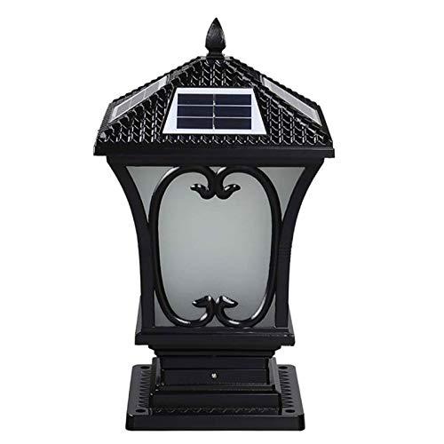 AWISAWIS Luces de Pedestal Solar LED, Lámpara de Jardín IP65 Impermeable, Lámparas de Cabeza de Columna Aluminio Farola de Exterior, Lámpara de Sobremuro Negro para Exteriores Caminos Patio,H:45