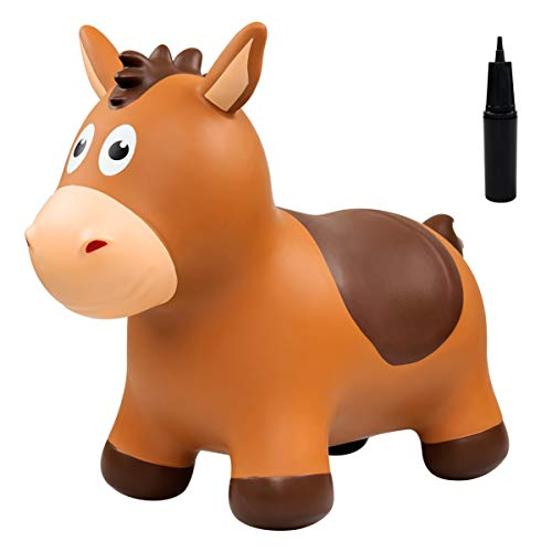 Ukoon Bouncy Jumping Horse,Brown Animal Hopper,Inflatable Bouncy Ride On Toy for Kids Toddlers  (Pump Included)