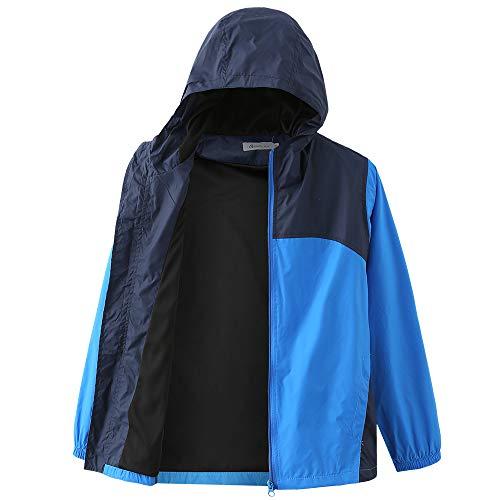 Boys Waterproof Rain Jacket, Lightweight Active Hooded Raincoat, Blue L-12