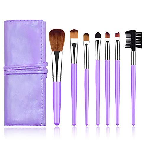 Maquillage Pinceaux, Outils De Beauté Pinceau De Maquillage Portable Pinceau De Maquillage Professionnel 7Pcs Cosmétiques Pour La Fondation Kabuki Fard À Paupières Correcteur,Violet