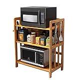 Shelves 3 Tier Solid Wood Microwave Oven Rack Stand Shelf Spice Storage Bakers Rack,Kitchen Bathroom Home Shelf Organizer Height Adjustable, 4 Sizes Avaliable (Size : 60X38X82cm),Size:80X38X82cm Flowe